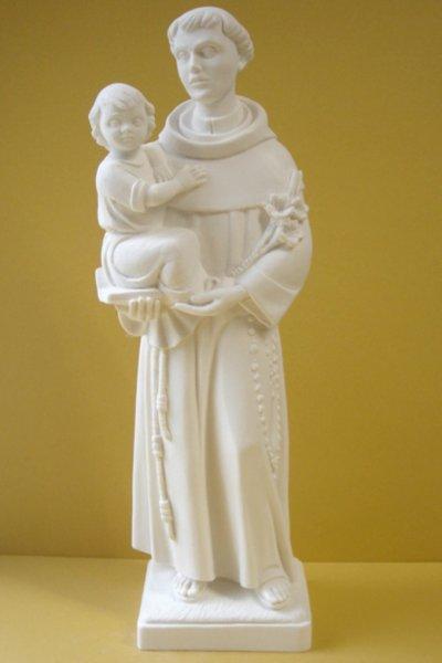 画像1: プラストマーブル製 パドアの聖アントニオと幼子イエス像 白 27cm  (1)