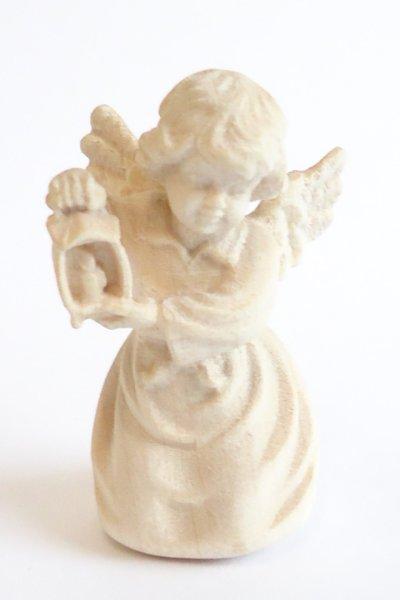 画像1: 小さな木彫り天使像 カンテラをもつ天使  白木 45mm  (1)