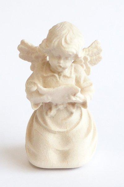 画像1: 小さな木彫り天使像 白木 45mm 楽譜をもつ天使 (1)