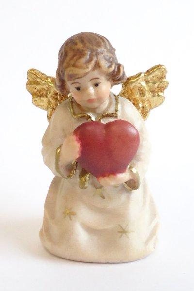 画像1: 小さな木彫り天使像 ハートを持つ天使 カラー 45mm  (1)