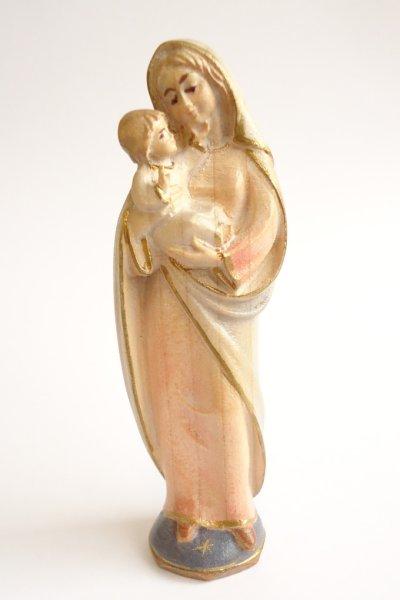画像1: 木彫 聖母子像 10cm 色付 アクア  NB (1)