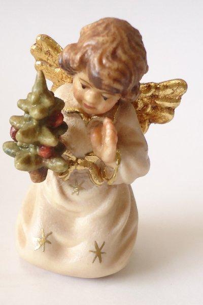 画像1: 小さな木彫り天使像 ツリーをもつ天使 カラー 45mm (1)