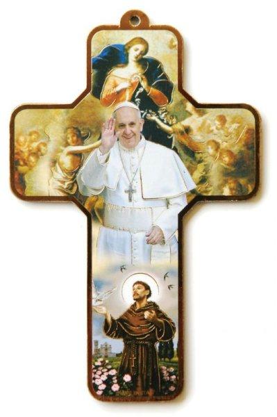 画像1: 板絵十字架 教皇フランシスコ&結び目を解く聖母マリア&アシジの聖フランシスコ (1)