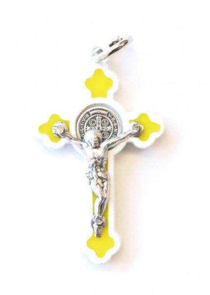 画像1: ミニ十字架 聖ベネディクト ゴシック風 白+黄 (1)