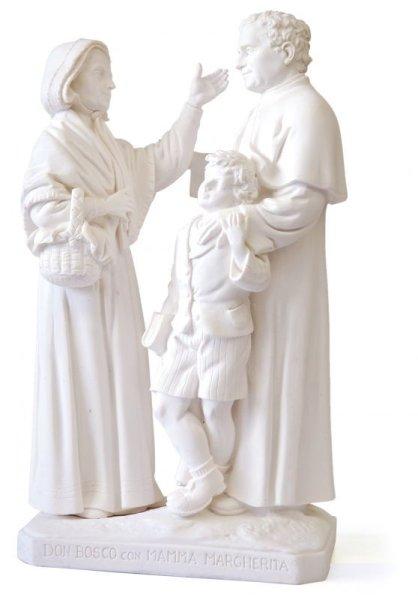 画像1: プラストマーブル製 ドン・ボスコ&マンマ・マルゲリタ&ドメニコ・サヴィオ像 白 27cm (1)