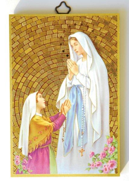 画像1: 壁掛板絵 聖マリアと聖ベルナデッタ (1)