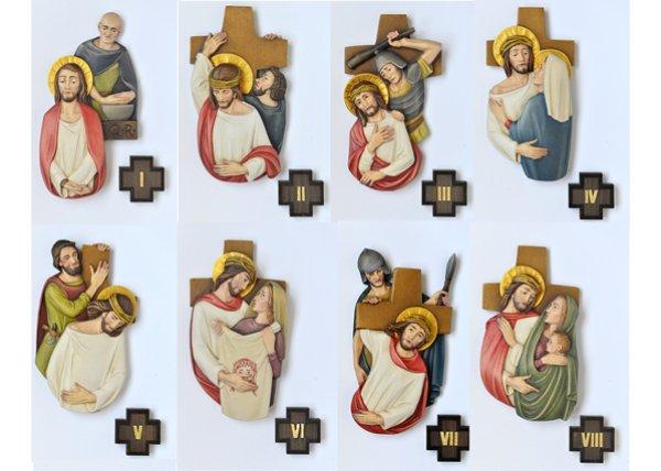 画像1: 壁掛け 木彫り 十字架の道行き 15留セット (1)