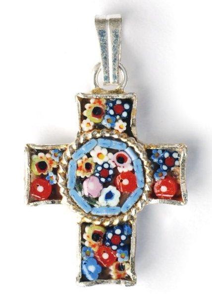 画像1: ミニ十字架 フィレンツェモザイクペンダントトップ シルバーメッキ (1)
