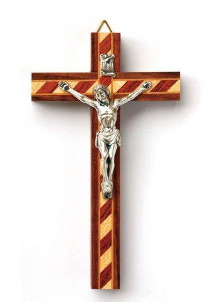 画像1: 壁掛け十字架 寄木風  (1)