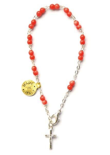 画像1: ロザリオブレスレット サンゴ色 銀色 (十字架ボディ付) (1)