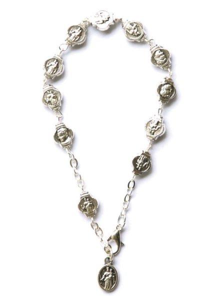 画像1: ロザリオブレスレット 銀色珠 D/B&扶助者聖母 (1)