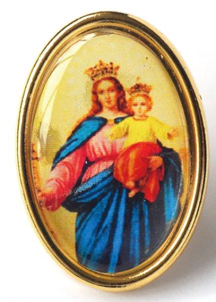 画像1: ピンバッジ 楕円 扶助者聖母 (1)