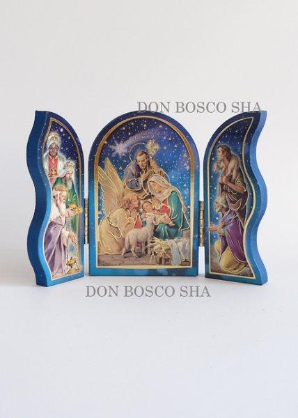 画像1: クリスマス卓上置物 3面板絵 572-N93 (1)