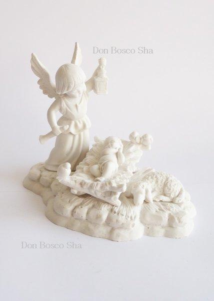 画像1: イタリア製 聖像 カンテラをもつ天使と幼子 白 1342B  (1)