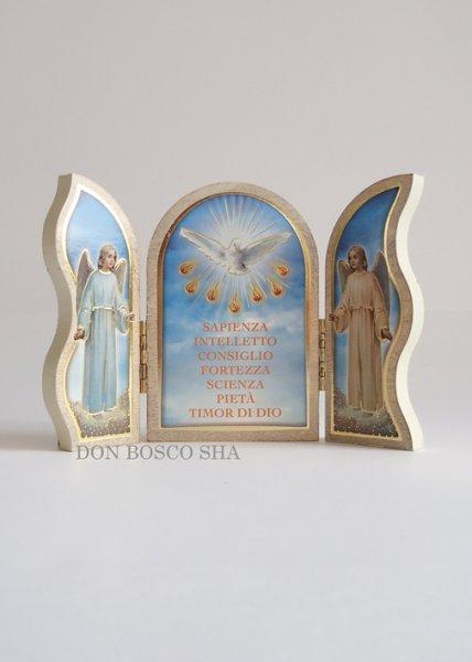 画像1: 卓上置物 3面板絵 聖霊と7つの賜物 炎 (1)