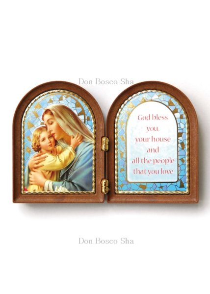 画像1: 卓上置物 ニ面板絵 聖母子 (1)