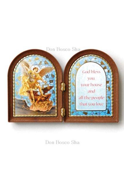 画像1: 卓上置物 ニ面板絵 大天使 聖ミカエル (1)