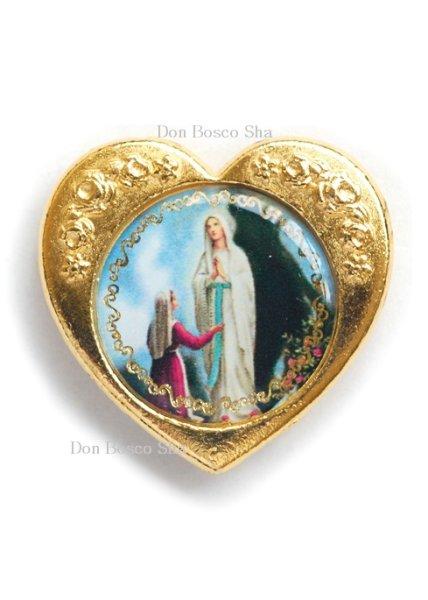 画像1: マグネット ハート形 ルルドの聖母 金色   (1)