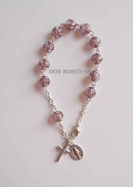 画像1: ★ロザリオブレスレット ばら型珠 紫★ (1)