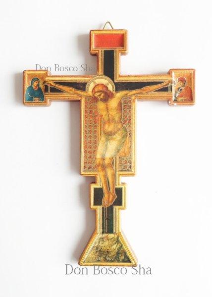 画像1: 板絵壁掛十字架 ジョット (ご絵付) (1)