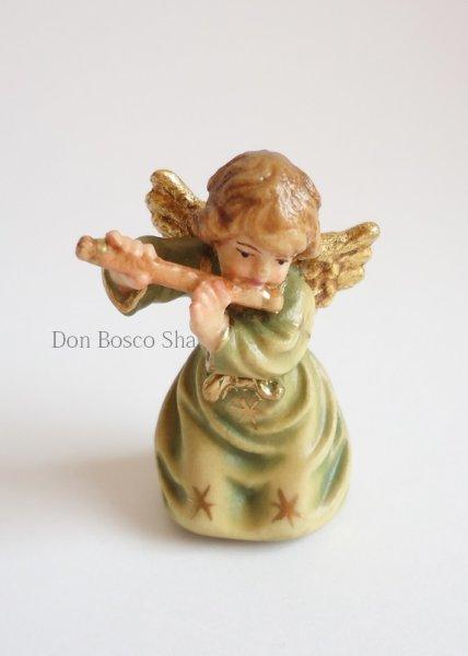 画像1: 小さな木彫り天使像 横笛の天使(緑) カラー 45mm (1)