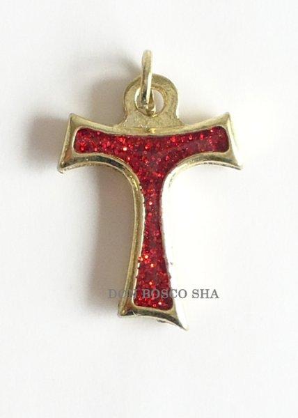 画像1: ミニ十字架 タウの十字架 ラメ赤 (1)