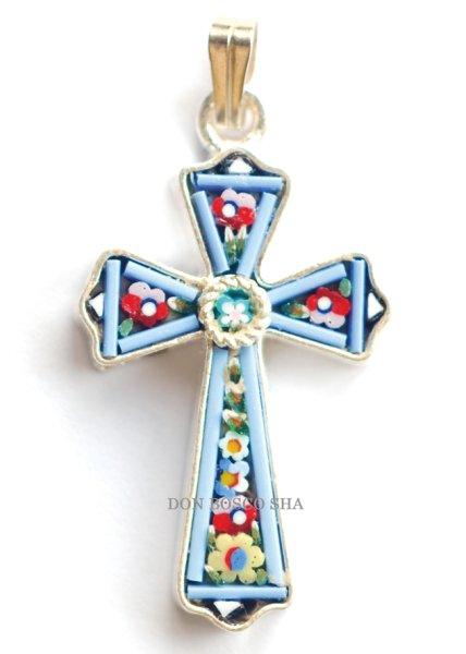画像1: ミニ十字架 フィレンツェモザイクペンダントトップ シルバー (1)