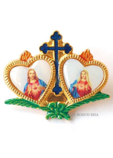 画像1: ピンバッジ ハート み心のイエスとマリア 金縁 (1)