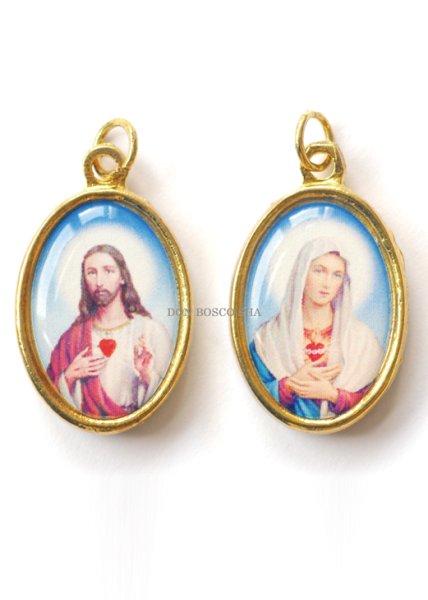画像1: 両面メダイ み心のイエスとマリア (1)