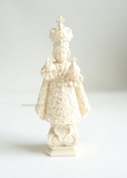 画像1: 木彫り サント・ニーニョ (幼きイエス) 白木 7cm (1)