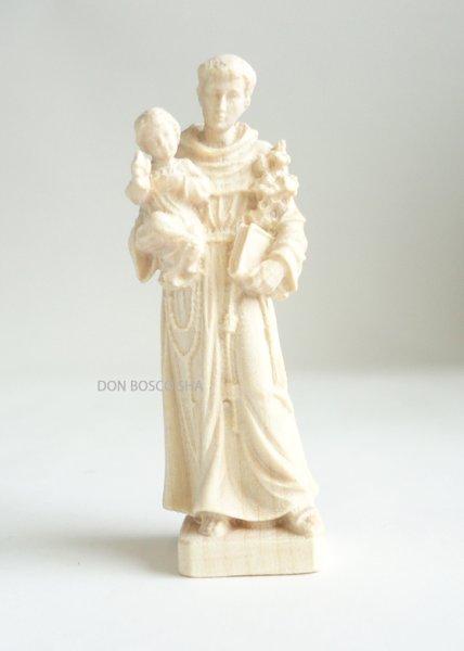 画像1: ご像 木彫り パドアの聖アントニオと幼子イエス 白木 7cmNB (1)