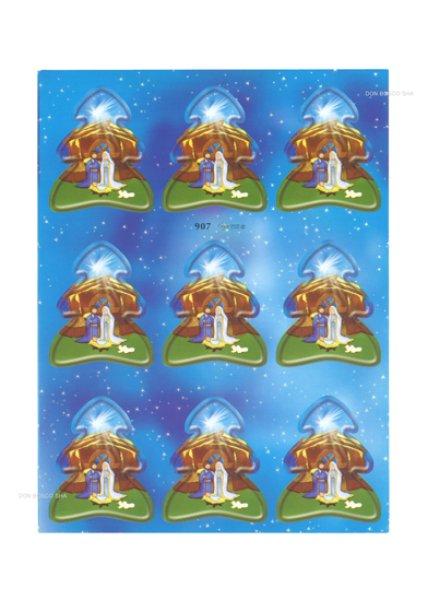 画像1: イタリア製クリスマスシール ツリー型馬小屋の聖家族 (1)
