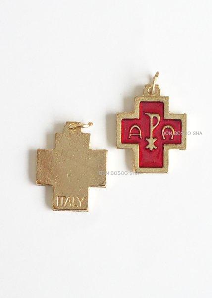 画像1: ミニ十字架 アルファ・オメガ 金・赤 (1)