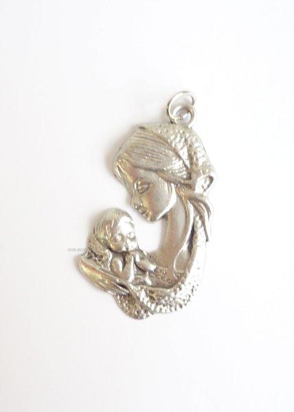 画像1: メダイ 型抜き聖母子銀色 (左向) (1)