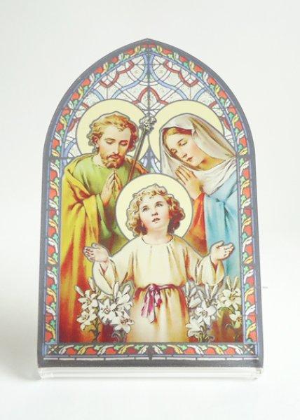 画像1: 卓上置物 ステンドグラス風 聖家族  (1)
