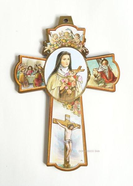 画像1: 板絵十字架  中央:聖テレジア&最後の晩餐・ゲッセマネのイエス・磔刑のキリスト (1)