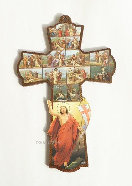 画像1: 板絵十字架 十字架の道行&復活のキリスト (1)