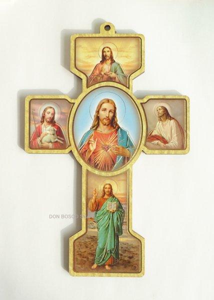 画像1: 板絵十字架  み心のイエス  (1)