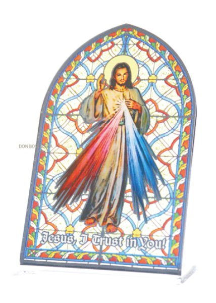 画像1: 卓上置物 ステンドグラス風 いつくしみのイエス (1)