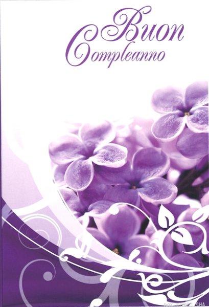 画像1: 二折カード花 紫 お誕生日カード (1)
