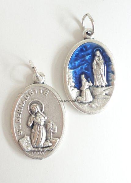 画像1: メダイ 両面 聖ベルナデッタとルルドの聖母(銀+青)&聖ベルナデッタ(銀色) (1)