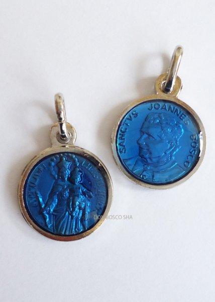 画像1: メダイ ドン・ボスコと扶助者聖母丸型両面ブルー14mm (1)