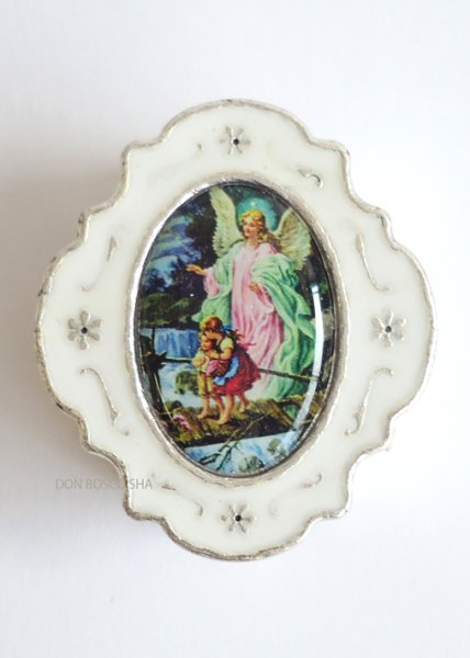 画像1: 小物入れ銀色(白) 守護の天使 (1)