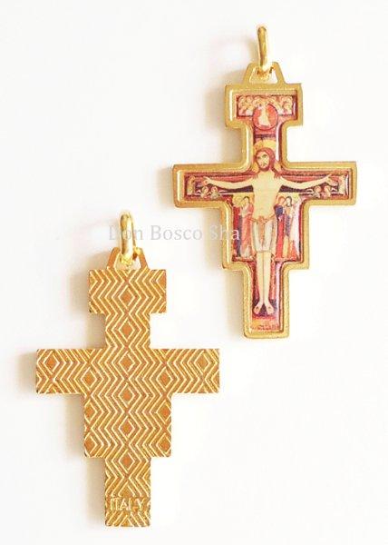 画像1: ミニ十字架 サン・ダミアーノ 金縁+カラー (1)