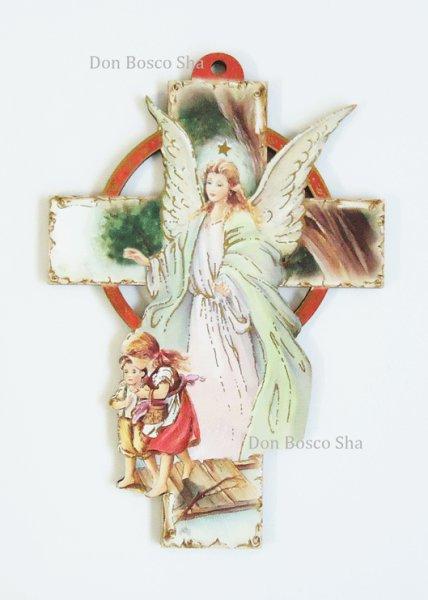 画像1: 板絵壁掛け十字架 守護の天使 (1)