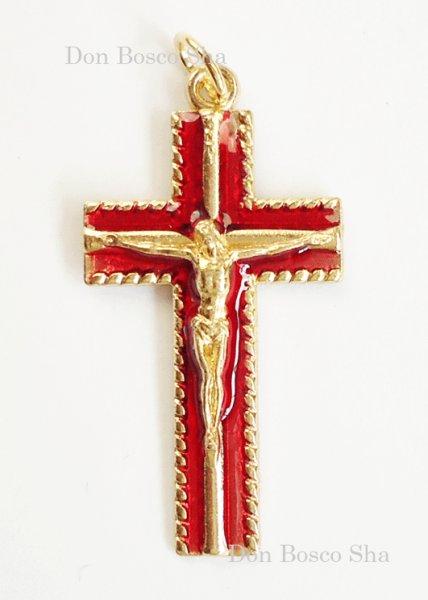 画像1: ミニ十字架 金色 + 赤 (1)