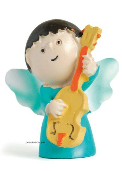 画像1: 卓上置物 ミュージック天使 青 ギター  (1)