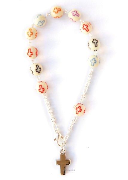画像1: ロザリオブレスレット 十字架プリントカラフル珠 (1)