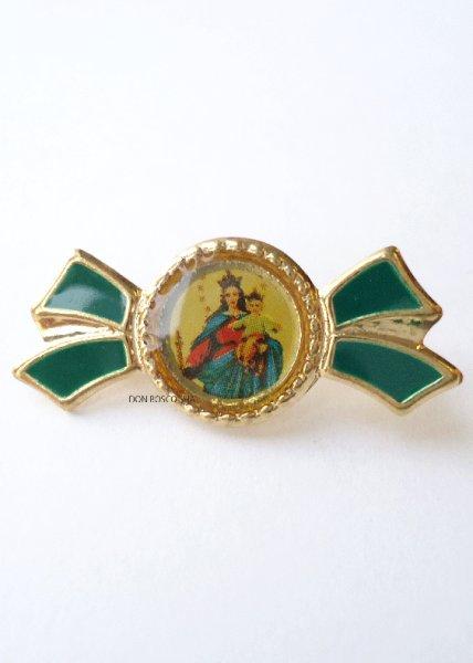 画像1: ピンバッジ 扶助者聖母 リボン型 緑 (1)