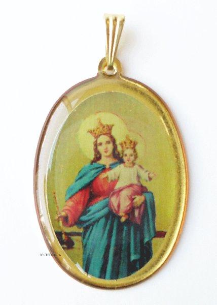画像1: メダイ 扶助者聖母 カラー楕円 金 (1)